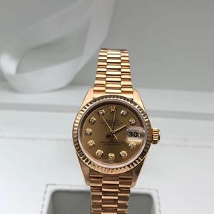 Rolex 劳力士日志款18k纯金狗头印女士机械腕表