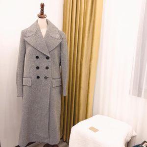 Burberry 博柏利女士羊毛灰色长款双排扣大衣