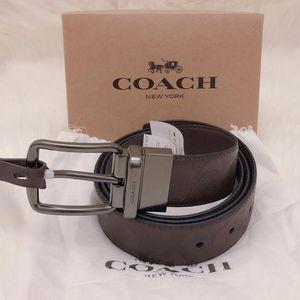 COACH 蔻驰加宽版双面牛皮浮雕男士礼盒腰带