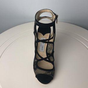 Jimmy Choo 周仰杰黑色蕾丝高跟鞋