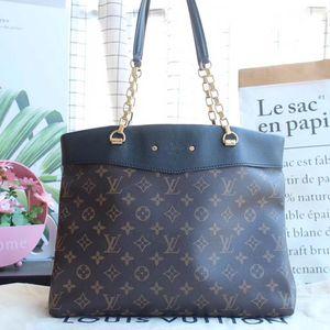 Louis Vuitton 路易·威登PALLAS SHOPPER系列老花拼黑皮链条单肩包