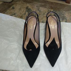 Valentino 华伦天奴绒面镶钻高跟鞋