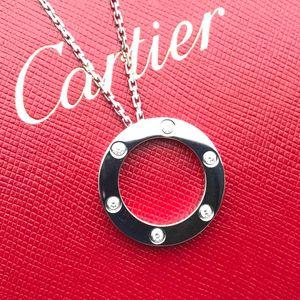 Cartier 卡地亚LOVE系列18k白金六钻圆盘项链