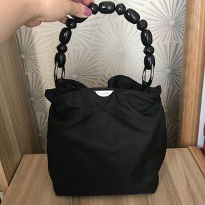 Dior 迪奥中古串珠黑色尼龙手提包