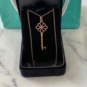 Tiffany & Co. 蒂芙尼18k玫瑰金镶红宝石中国结祥云钥匙项链