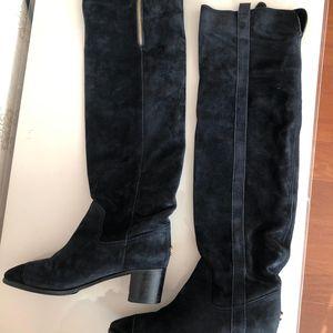 CHANEL 香奈儿深蓝色麂皮及膝长靴