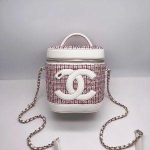CHANEL 香奈儿白色拼彩呢编织水桶包化妆包