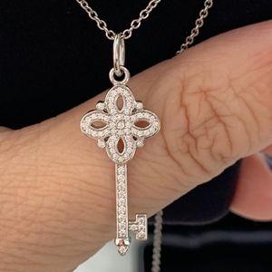 Tiffany & Co. 蒂芙尼维多利亚系列18k白金满钻钥匙项链