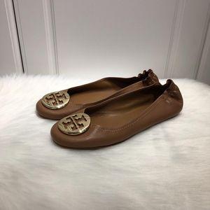 Tory Burch 托里·伯奇女士棕色羊皮芭蕾舞软底鞋