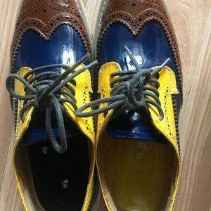 PRADA 普拉达拼色厚底皮鞋