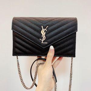 Yves Saint Laurent 伊夫·圣罗兰黑银全皮鱼子酱信封单肩包