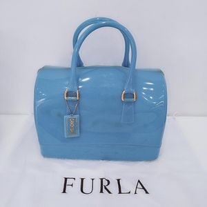 Furla 芙拉蓝色果冻手提包
