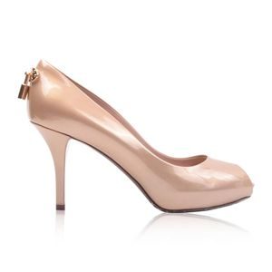 Louis Vuitton 路易·威登女士浅金色漆皮鱼嘴高跟鞋