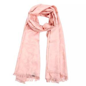 COACH 蔻驰裸粉色C纹羊毛桑蚕丝围巾