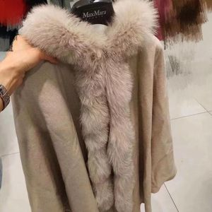MaxMara 麦丝玛拉一线白标羊绒狐狸毛领斗篷大衣