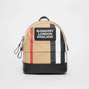 Burberry 19Fw kids徽标标志性条纹尼龙双肩包