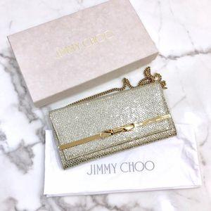 Jimmy Choo 周仰杰香槟色亮片链条单肩包