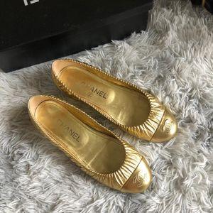 CHANEL 香奈儿金色单鞋皮鞋