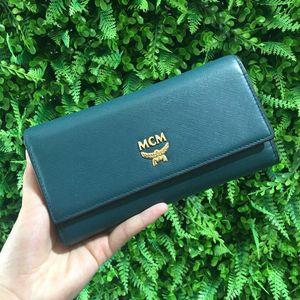 MCM MCM墨绿色手掌纹长款钱包
