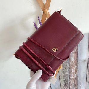 Dior 迪奥酒红色中古信封包