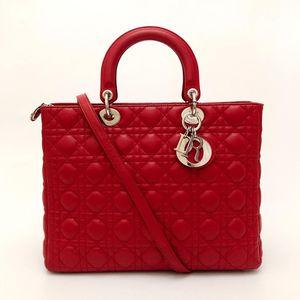 Dior 迪奥正红色小羊皮七格经典戴妃包