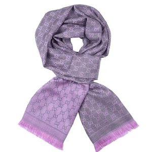 GUCCI 古驰浅紫色双面围巾