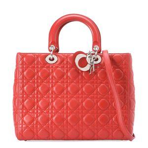 Dior 迪奥红色小羊皮经典七格戴妃手提包