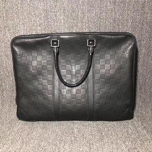 Louis Vuitton 路易·威登男士黑色棋盘格牛皮公文包手提包