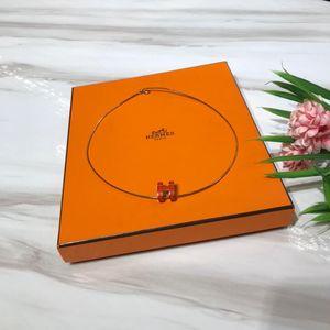 Hermès 爱马仕POP H珐琅橘色椭圆H金色项链