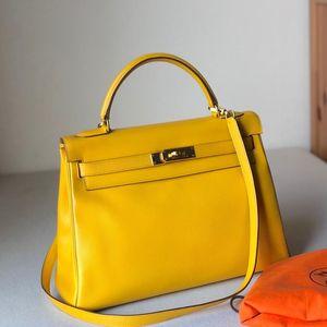 Hermès 爱马仕Kelly32太阳黄金扣epsom皮手提包