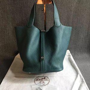 Hermès 爱马仕picotin22绿色中号手提包