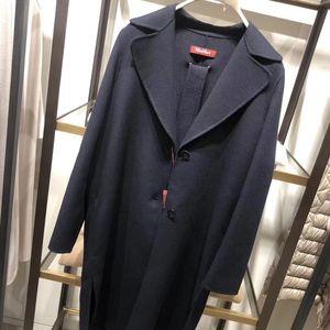MaxMara 麦丝玛拉深蓝色浴袍式大衣