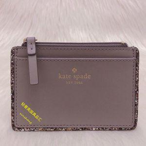 Kate Spade 凯特·丝蓓大象灰纯牛皮璀璨系列零钱卡包