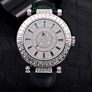 Franck Muller 法兰克穆勒白金原钻绿宝石刻度自动机械腕表