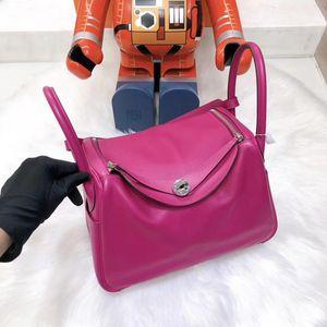 Hermès 爱马仕玫瑰粉紫色lindy30单肩包
