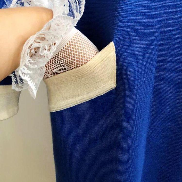 Yves Saint Laurent 伊夫·圣罗兰名媛撞色羊毛针织连衣裙