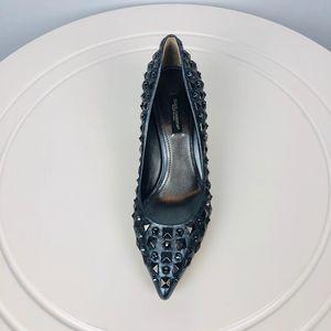 DOLCE&GABBANA 杜嘉班纳銀灰色钻饰鉚丁鞋
