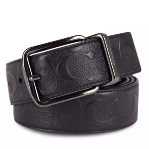 COACH 蔻驰男士加宽版黑色浮雕牛皮双面旋转扣腰带