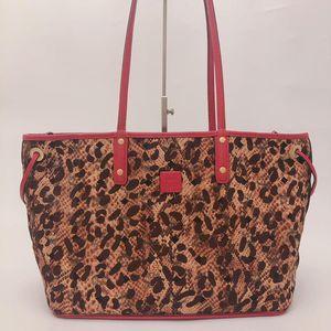 MCM 豹纹拼西瓜红双面双色购物袋托特包