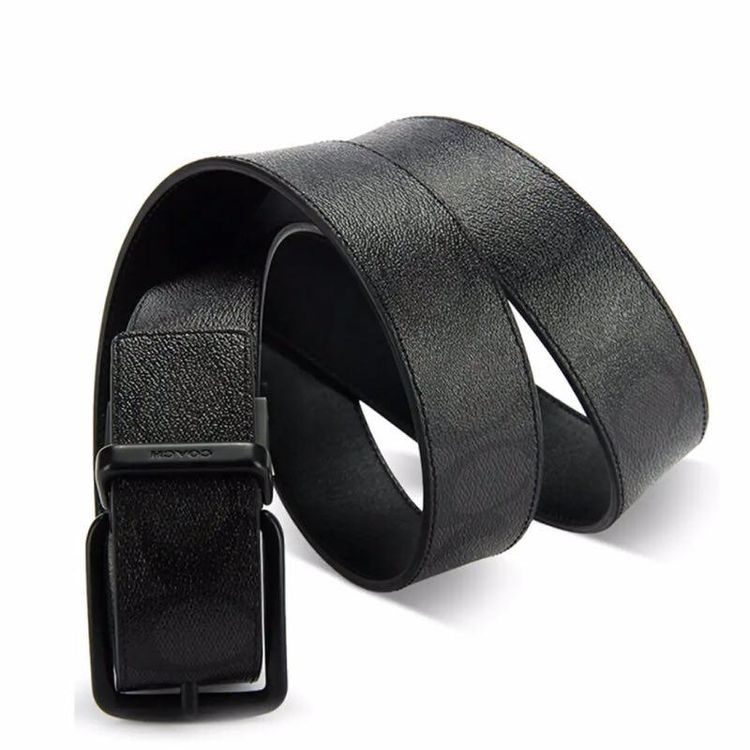 COACH 蔻驰男士加宽版双面酷黑牛皮旋转扣腰带