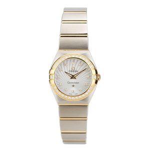 欧米茄星座系列18K黄金精钢原镶钻石英女表