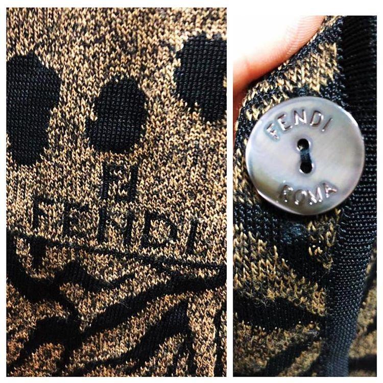 FENDI 芬迪时尚豹纹小翻领中长款羊毛针织开衫