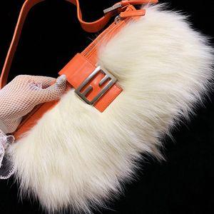 FENDI 芬迪限量款奢华皮草拼皮法棍手提单肩包