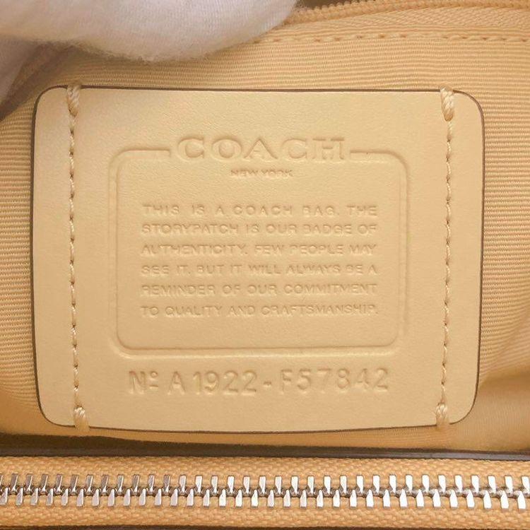 COACH 蔻驰经典logo柠檬黄拼色抽绳戴妃包