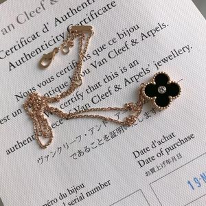 Van Cleef Arpels 梵克雅宝黑花单钻圣诞款玫瑰金项链