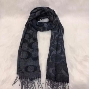 COACH 蔻驰灰色羊毛羊绒围巾
