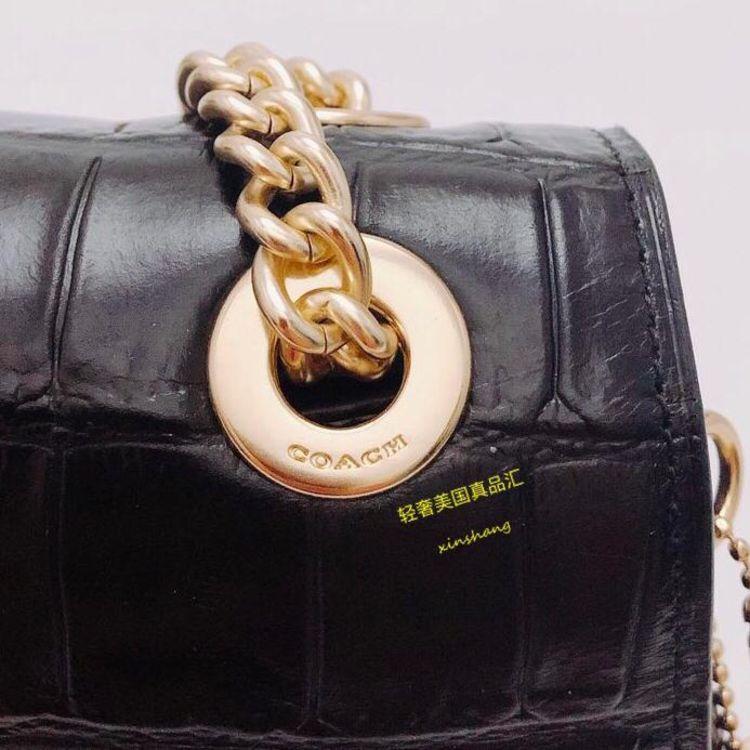 COACH 蔻驰黑色牛皮鳄鱼纹链条包