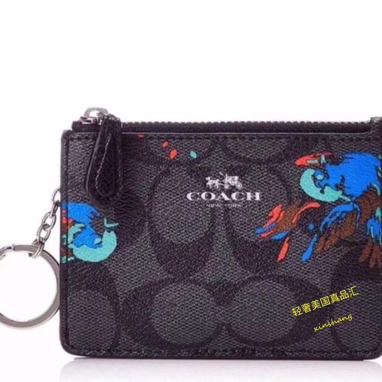 COACH 蔻驰限量小鸟涂鸦钥匙扣零钱卡包