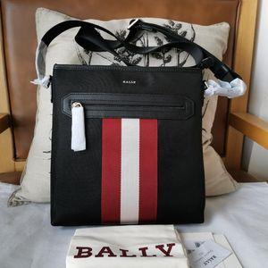 BALLY 巴利经典红白条单肩斜挎包男士