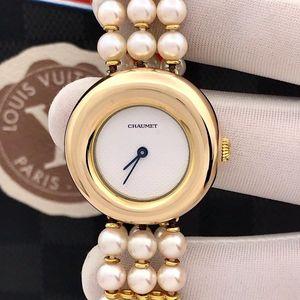 Chaumet 尚美巴黎18k玫瑰金珍珠带女士石英腕表